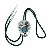 Vintage 1980's Navajo Sterling Silver Turquoise & Coral Bald Eagle Bolo Tie