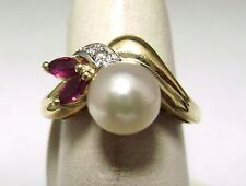 14kt Yellow Gold Pearl Ring with 2 Marquise and 2 Round Diamond Accents     dn