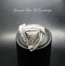 9K Gold 9ct Gold Diamond Cluster Ring Size N Trillion cut 1.5ct  5g