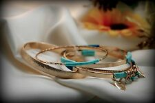 Beautiful Turquoise Blue Ribbon Gold Plated Metal Five Set Bangle Charm Bracelet