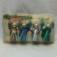 Vintage Shiny Brite Christmas Decoration 4 Angel Ornaments