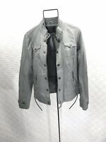 NWT True Religion Vegan Leather Button/Zip Jacket Wolf Gray Size S (C25)