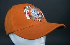 ORANGE BASEBALL CAP WILD WOLF ANIMAL FEATHER NATIVE INDIAN CHAPEAU CASQUETTE
