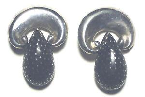 RARE* PATRICIA VON MUSULIN Vintage EBONY Inlaid STERLING 925 Modernist EARRINGS