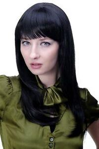 Perruque pour Femmes Noir Gothique Mignon & Coquines Frange Lisse Cheveu Long