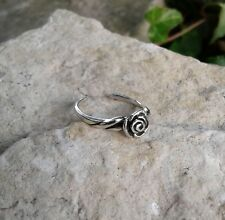 Toe Ring, Oxidized Solid Sterling Silver Rose Flower Toe Ring