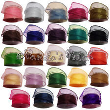 Organza Snow Sheer Wired Edge Ribbon 50mm - Choose Colour and Length