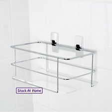 Naleon Maddison Chrome Wire Large Basket Shower Caddy Self Adhesive Removable