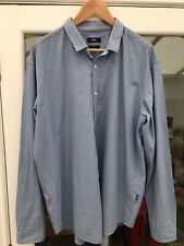 "Hugo Boss Mens Shirt 3XL XXXL 50"" Chest Blue With White Squares 25"" PTP SEE PICS"