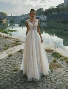 Dresses Wedding Bride Gowns A Line Tulle V Neck Sleeveless Lace Appliqued Sequin