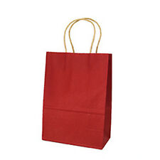 1X Wine Red Recyclable Handle Craft Paper Gift Bags Birthday Shop With Clothes