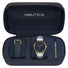 NEW NAUTICA GOLD TONE,BLACK+WHITE STRIPED LEATHER BAND BOX SET WATCH-NAPCGS008