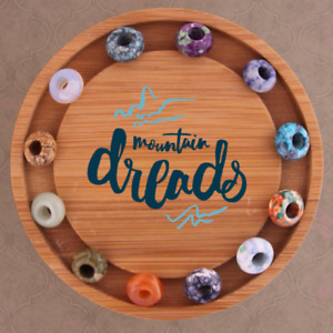 12 Gemstone Dreadlock Beads - Opalite - Jade - Jasper 5/6mm Hole (3/16-1/4 Inch)