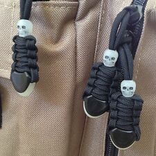 3 Pack Paracord Zipper Pulls with Skull & Glow In The Dark Pull Tab (25 Colors)