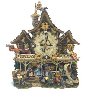 Boyds Bears Danbury Mint Beary Lodge Clock In Original Box Awesome Condition!