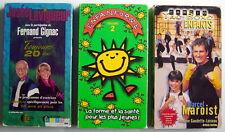 3 CASSETTES VHS D'EXERCICES DONT 2 POUR ENFANTS, AVEC M.MAROIST, J. LAVIGEUR & +