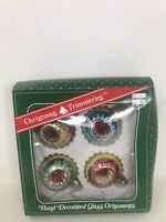 """VTG  Glass Ornaments Double Indent 2.5"""" Christmas Trimmeries  Hand Decorated"""