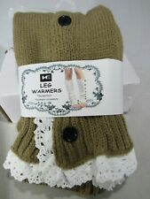 New HE Leg Warmer Cream & white lace Trim 2 button one size winter free shipping