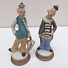 "2 Bisque Hand Painted Clowns, Unbranded 6"" Tall, Used no Box"