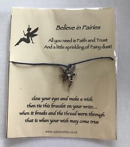 """""""Believe in Fairies"""" Wish Bracelet and Fairy Charm gift"""