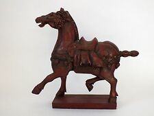 ANTIQUE VINTAGE DECORATIVE HAND CARVED WOODEN HORSE FOLK ART STYLE RED
