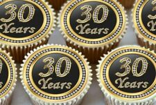 24 X 30TH BIRTHDAY ANNIVERSARY EDIBLE CUPCAKE TOPPERS CAKE WAFER RICE PAPER 1173