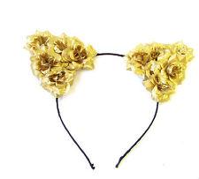 Gold Rose Flower Cat Animal Ears Headband Kawaii Pastel Goth Hair Band Boho 1966
