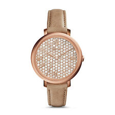 NWT Fossil Women's Jacqueline Rose Gold Beige Leather Strap Watch 36mm ES3866