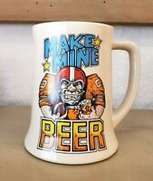 Vintage Barware 80's Make Mine Beer Stein Wallace Berrie Football Collectible