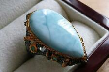 LARGE PEAR LARIMAR & EMERALD 925 SILVER BLACK RHODIUM GOLD RING SZ P1/2/Q 8.5