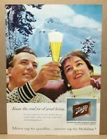 Vintage 1960 Schlitz Beer Milwaukee Wisconsin Man Woman Snow Mountain Print Ad