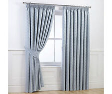 Studio Milan Textured Jacquard Tape Top Curtains Duck Egg 46'' x 54'' -Duck Egg