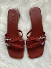 Brighton Women's Rio Sandals Leather Heart Shaped Heel and Buckle Red 7.5 M