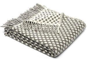 TWEEDMILL TEXTILES SOFA BED THROW BLANKET  PURE LAMBSWOOL - REVERSIBLE GREY SPOT