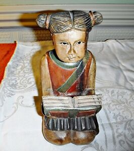 DELIGHTFUL ASIAN WOOD CARVING OF A YOUNG GIRL KNELT READING 8 INCH HIGH
