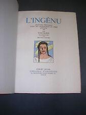 Illustré moderne Brunelleschi Voltaire L'ingénu 1948 numéroté gravures couleurs