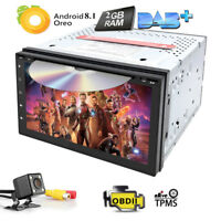 """Android 8.1 Double DIN 7"""" Car Stereo GPS Sat Nav DAB+ OBD2 WiFi 3G Radio DVD+CAM"""