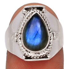 Labradorite - Madagascar 925 Sterling Silver Ring Jewelry s.7 AR163062