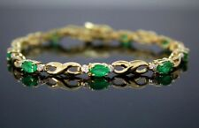14K Yellow Gold 3.05ct Oval Green Emerald Round Diamond Tennis Bracelet