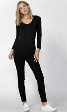 Betty Basics Coco Scoop Tee Black White Stripe Top L/sleeve Women Sz S