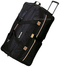 """30"""" Black Polyester Rolling Wheeled Duffel Bag Travel Suitcase"""