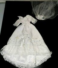 CUSTOM handcrafted Barbie-size beaded white wedding gown VEIL LACE DEATILED GIRL