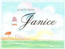 Set of 8 Blank Note Cards & Envelopes ~ A Note From Janice ~ Lighthouse ~ Ocean