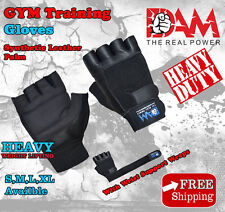 LEATHER GYM GLOVES FITNESS WEIGHT LIFTING TRAINING BODYBUILDING CROSS FIT, NEW