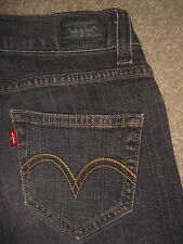 LEVIS 504 Tilted Straight Gray Black Stretch Denim Jeans Womens Size 1 x 30