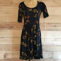 LuLaRoe Nicole Womens Blue Floral Dress XS X-Small