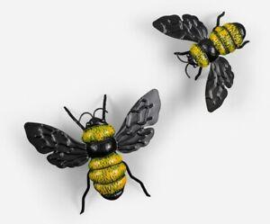 Bumble Bee Metal Hanging Wall Art Honey Ornament Figurine Sculpture Garden Set/2