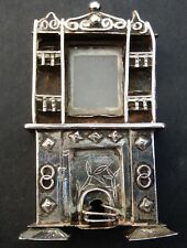 Rare Antique Chinese Silver Plate Miniature Novelty Dolls House Fire Place c1870