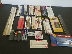 VARIETY LOT BALL POINT PEN REFILLS PENTEL LEADS,ERASER REFILLS RULER ESTATE FIND