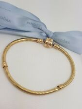 Authentic Pandora Solid 14ct 14k Gold Moments Charm Bracelet 18cm